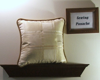 Cream and gold pillow cover