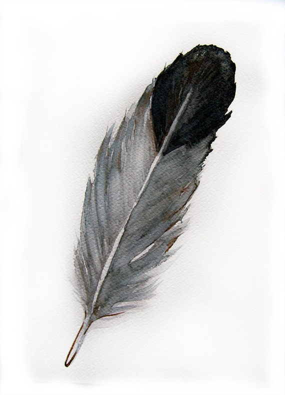 Watercolored feather-Original art watercolor painting of feather-Feather painting 7.5/11 inch