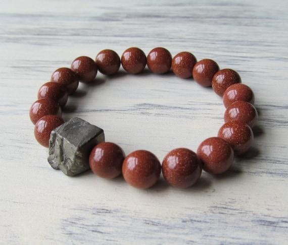LUCK & HEALING Goldstone and Pyrite Healing Bracelet