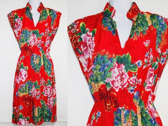 Vintage 70's Red Peacock Dress Sz.M