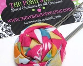 Fabric Rosette Jumbo Paperclip/ Bookmark - Ready to Ship - Free Shipping