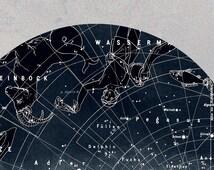 Zodiac Art Print Celestial Constellations  Northern Hemisphere  Vintage Image