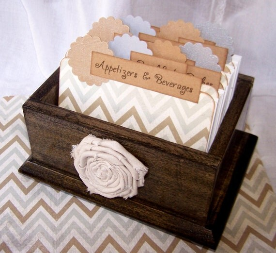 Recipe Box, Dividers and Cards - Gray and Tan Chevron, Zig Zag, Dark Charcaol Gray Box