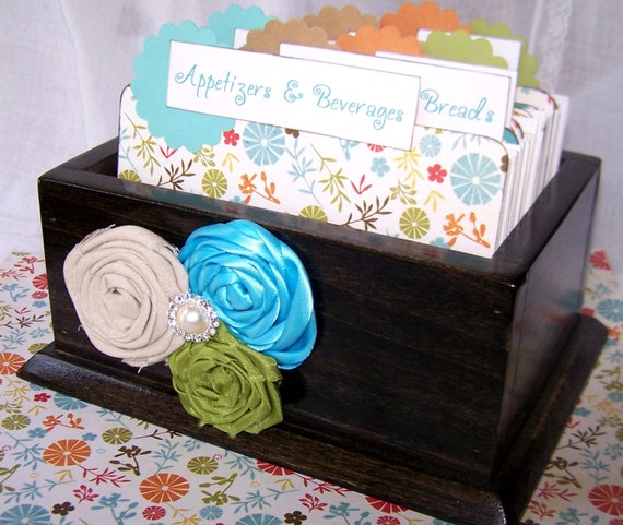 Recipe Box, Dividers and Cards - Ready-to-Ship, Blue, Orange, Green and Tan, Charcoal Gray Box