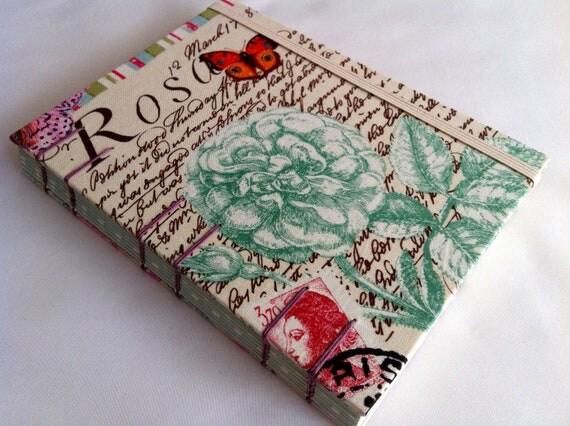 Handmade Fabric Journal - Coptic Stitched - Rosa - Medium