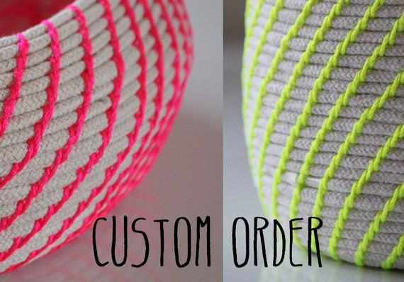 CUSTOM ORDER 2 x Upcycled Natural & Neon Baskets: Pink / Yellow / Extra Large