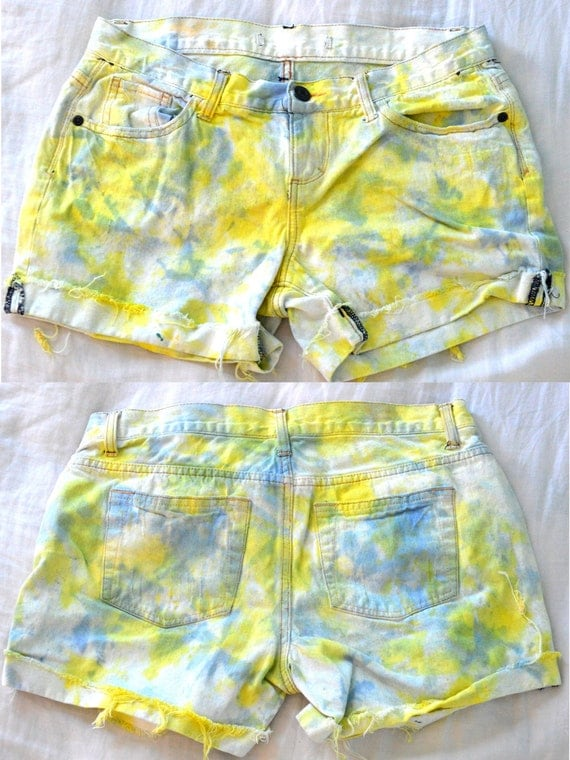 Low Waisted Distressed Tie-Dye Denim Shorts