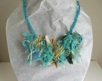 Mori girl fabric necklace in aqua