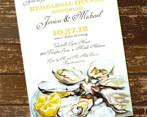 Watercolor Oyster Dinner Invitation, Rehearsl Dinner Invite, Oyster Painting, Southern Wedding, Dinner Party, Seafood Invite - Digital File