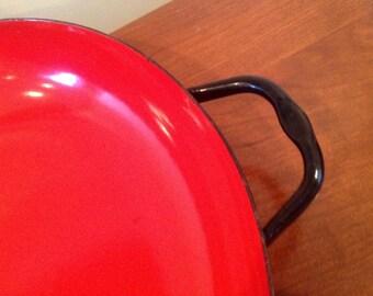 Vintage Danish Enamel Orange Red Skillet Casserole Pan