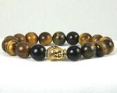 Mens Tiger Eye Buddha Stretch Bracelet, Free Shipping, Unisex, Great Gift Idea