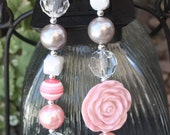 Pink and White Shabby chic flower chunky beaded necklace