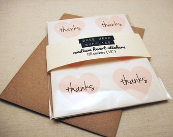 """72 Thanks Pastel Pink Heart Stickers - 1.5"""" . Envelope Seals . Gift Wrap . Pink Stickers . Wedding Stickers Labels Invitation Seals"""
