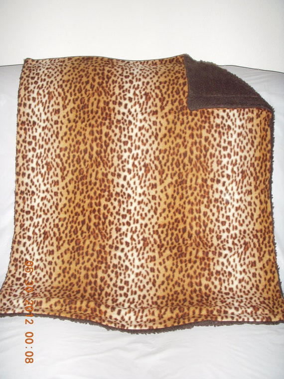 Pet Blanket - adorable cheetah print fleece with reversible brown sherpa faux fur blanket