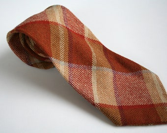 80's wool necktie, vintage necktie, plaid necktie, checked rusty orange brown beige