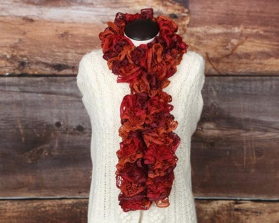 reddish orange ruffle scarf