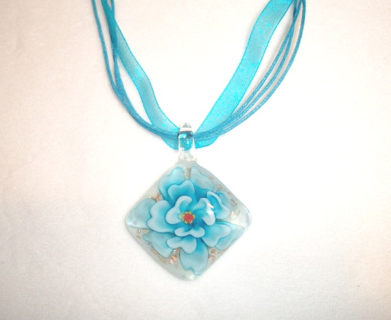 Blue and Gold Fused Glass Flower Pendant on Gossamer Ribbon Necklace with Swarovski Crystal Elements