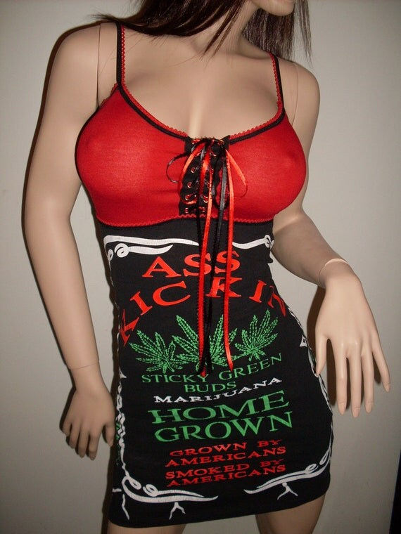 Diy Marijuana Mini Dress Heavy Metal Punk Clubwear Juggalette