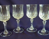 Vintage French Wine/ Water 24% Lead Crystal Goblets D'Arques Durand Longchamp 7-1/4 inches tall holds 8 Ounces Set of 4