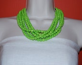 Statement Necklace  Multi-Strand Neon Lime Green Beaded Necklace Chunky Bold