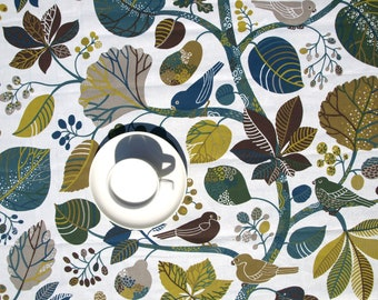 Tablecloth white moss green blue beige grey birds tree forest , moisture resistant , outdoor tablecloth , great GIFT