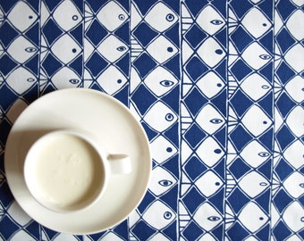 Tablecloth white navy blue abstract fishes Moisture resistant Modern Scandinavian Design , also napkins, table runner available, great GIFT