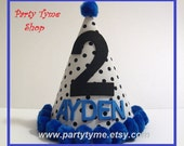 Boys First Birthday Hat Free Personalization Dalmation Fireman Polka Dot Royal Blue
