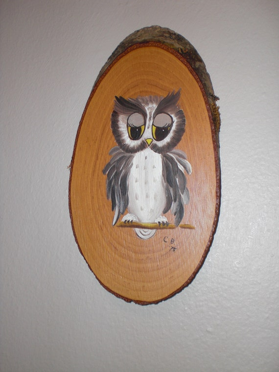 Retro Folk Art Owl Painting Tole Painting On Wood Mod By