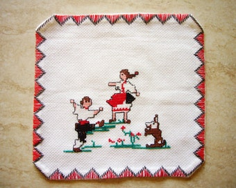 Traditional Bulgarian embroidery set of 4 tea towels