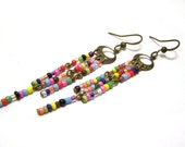 Colorful Czech Glass Seed Bead and Antiqued Brass Handcrafted Earrings