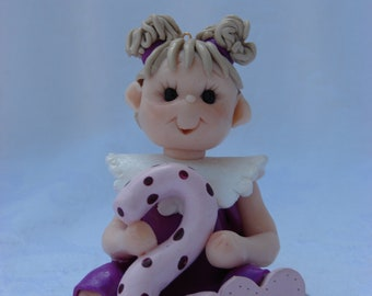 Personalized Little Girl Polymer Clay Birthday Cake Topper, Childrens Christmas Ornament, Figurine.  A hand crafted art sculpture.