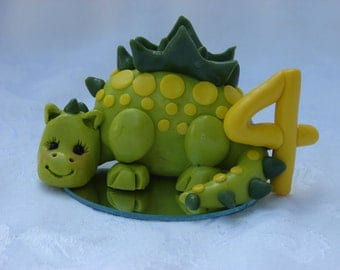Personalized Dragon Polymer Clay Children Birthday Cake Topper Figurine.  A hand crafted art sculpture.
