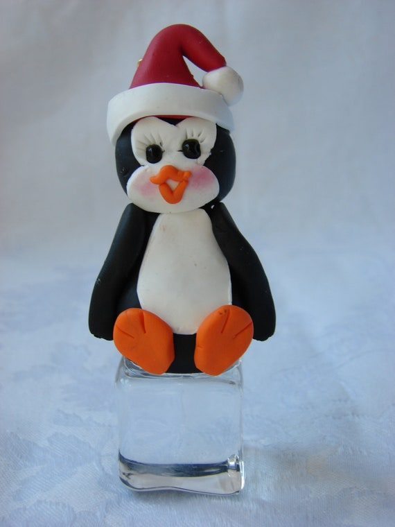 Personalized Penguin atop Ice Cube Polymer Clay Christmas Ornament Figurine.  A handcrafted Art Sculpture.