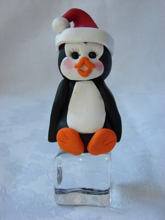 Personalized Penguin on Ice Cube Polymer Clay Childrens Christmas Ornament,  Figurine.  A handcrafted art sculpture.