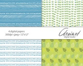 Digital scrapbook papers. Hand drawn illustration. Sea summer, Printable Blue, green, yellow, white. Web backgrounds. Geometry, floral.