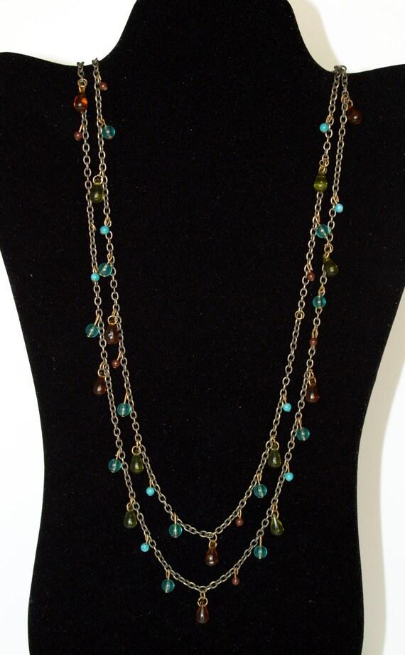 Vintage Long Teardrop Necklace