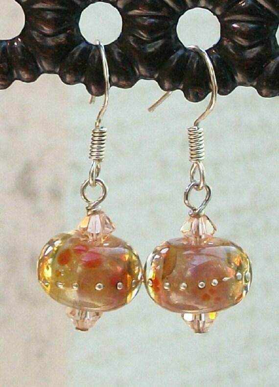 VALENTINE'S SALE  Lampwork Earrings Peach Drops