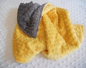 "15x15"" Mini Minky Lovey Security Blanket in Sunshine Yellow and Grey Minky Dimple Dot  Gender Neutral Ready to Ship"