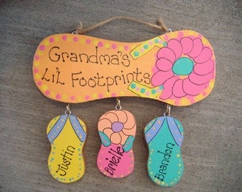 Handpainted Personalized Wood Flip Flop Sign