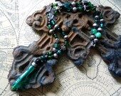 Green, silver and black beaded necklace
