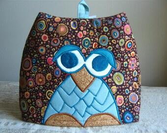 Embroidered Owl Tea Cosy in Kaffe Fassett Fabrics