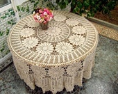 "HUGE Crocheted  Table cover/Tablecloth  90"" Round ,  Beige"