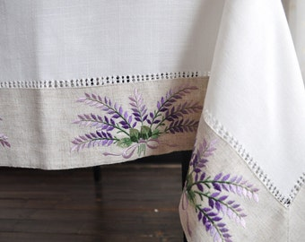 """Lavender Embroidered  Tablecloths, size: 53X70"""""""