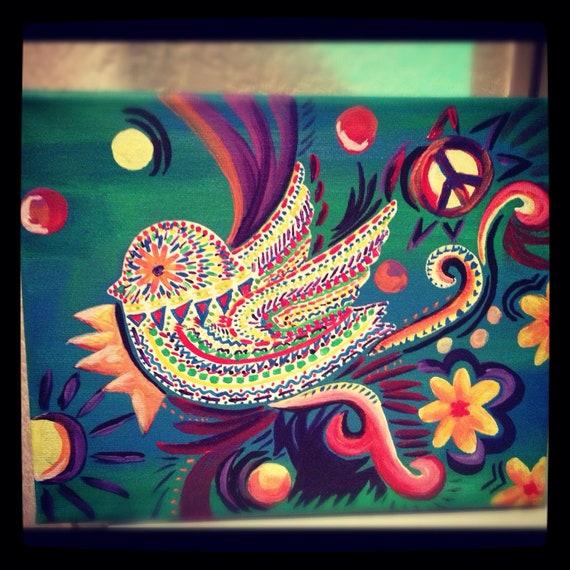 items similar to original hippie bird acrylic painting on etsy