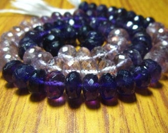 "AAA-Amethyst Faceted Shaded Big Rondelles- 7"" Strand -Stones measure- 8mm"