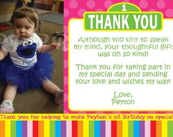 Sesame Street Thank You Cards- Custom Digital File
