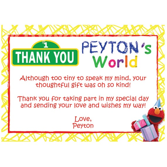 Elmo's World / Sesame Street Thank You Cards- Custom Digital File