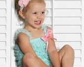 Aqua Ruffled Lace Petti Romper AND Shabby Chic Headband - Toddler, Baby, Girl, Child