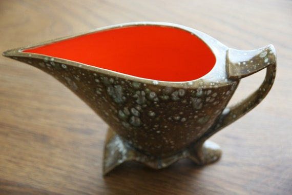 Vintage funky pitcher planter/vase by Aline made in USA with hot orange interior and grey speckled exterior