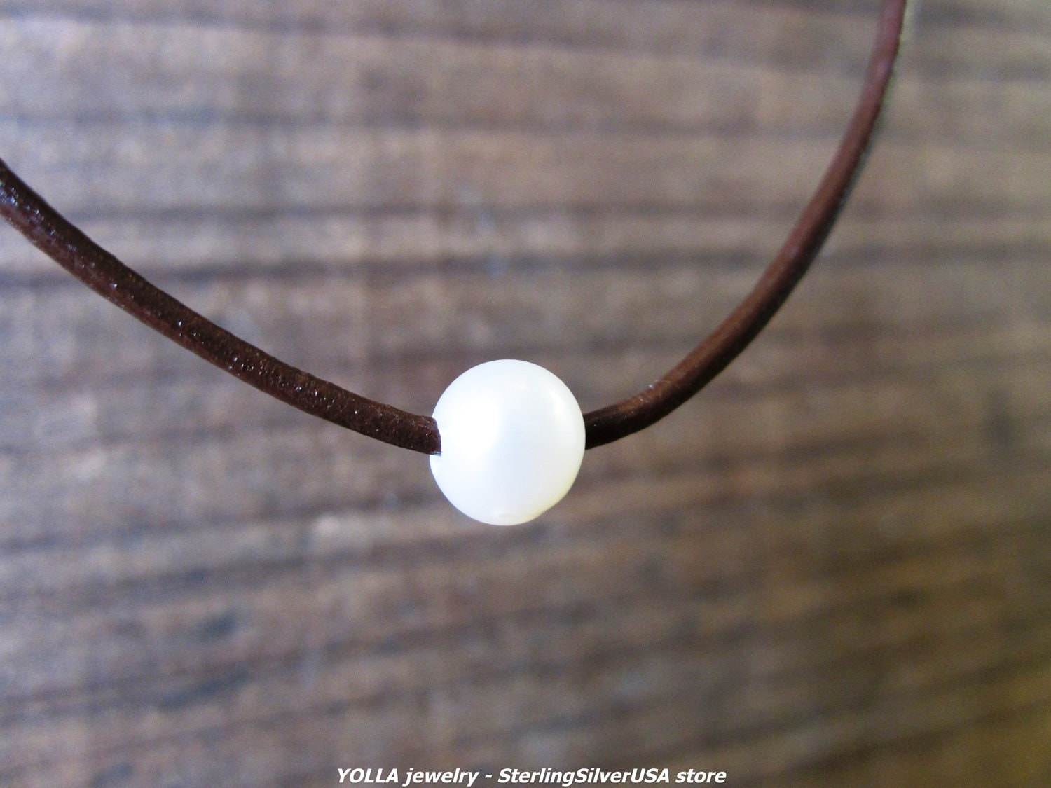 One Pearl Necklace genuine pearl natural leather cord pure